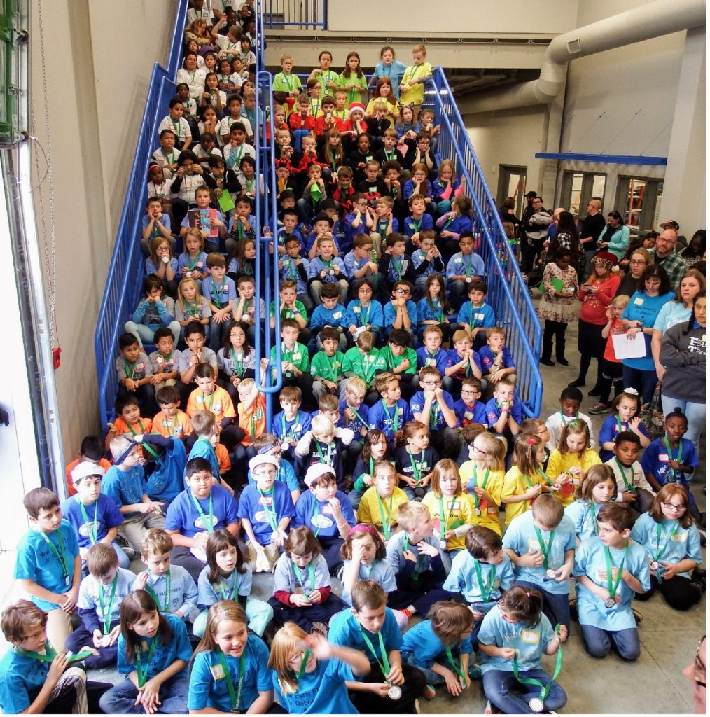 FLL on the stairs at Ethos Science Center